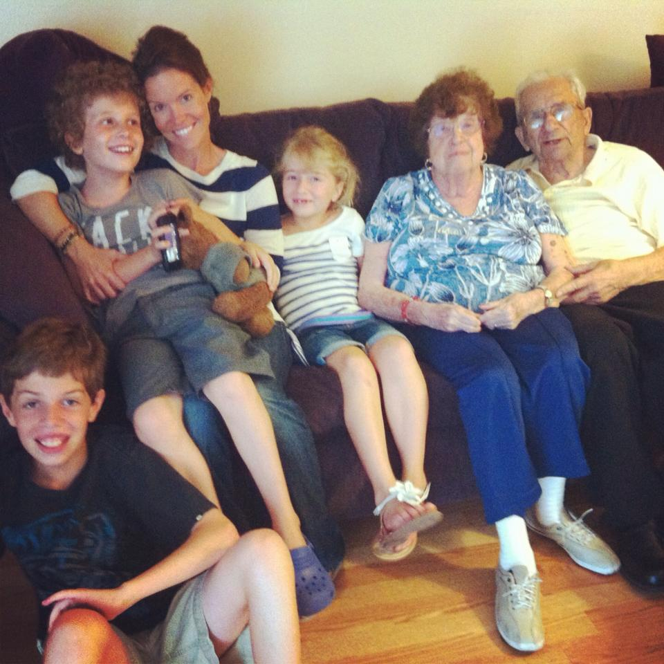 My wife and kids with my grandparents last summer.