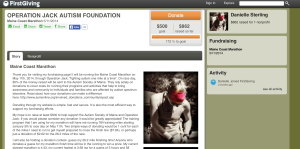 Danielle's fundraising page. Took her 10 minutes to set it up and another five minutes to earn a free race entry.