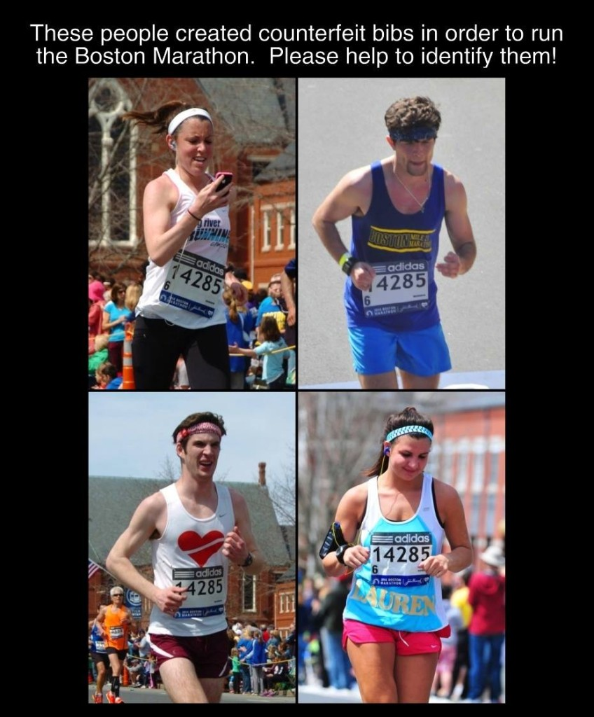 This made the rounds on social media last week. All of these runners were running with a counterfeit bib.